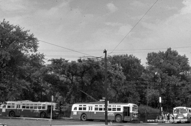 CTA trolley us 9377 is at Irving Park and Neenah. This bus turnaround is no longer in use by CTA, and has now become part of a driveway for a development.