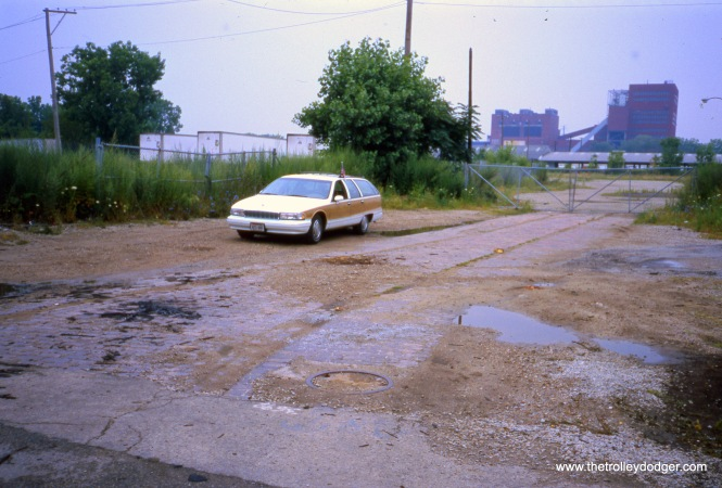 Chicago, IL. Looking westbound on 23rd (O'Neil) Street from Halsted Street, once a busy street-- once a busy streetcar/cable car terminal (with a carbarn). The rails (along with a crossover) are still intact and visible in this July 30, 2004 photo by William Shapotkin.