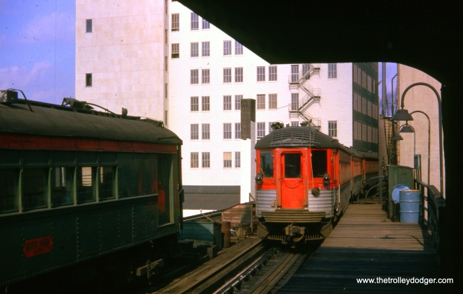 CNS&M 756 is at the rear of the 10:55 am train to Milwaukee, leaving Roosevelt Road station on November 7, 1962. (William Shapotkin Collection)