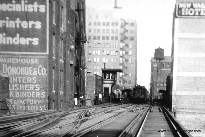 "The Roosevelt Road/Holden Court station on the South Side ""L"". The view looks north. (William Shapotkin Collection)"