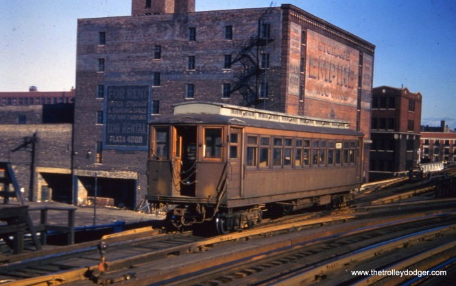 CTA 2821, a wooden Met car running northbound on the Kenwood shuttle circa 1956-57. These were the last type of cars used for that service, which ended in 1957.
