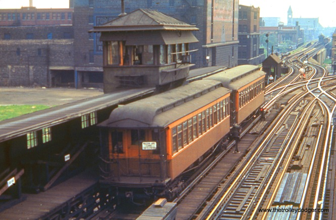 "CTA 385 is at the Indiana Avenue station in July 1948, signed as a Wilson Avenue local via the elevated (instead of the State Street subway, which opened in 1943). The following year, the CTA introduced A/B ""skip stop"" service to North- South and the Kenwood and Stockyards ranches became shuttles."