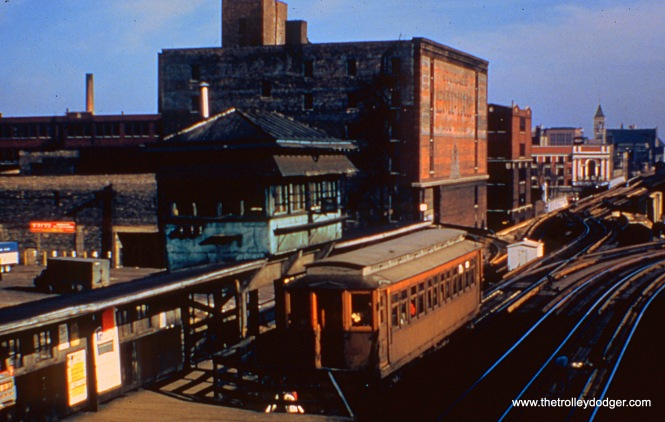 "Once the Kenwood and Stockyards ranch lines became full-time shuttle operations, the CTA station at 40th and Indiana Avenue was reconfigured. Here is a Kenwood car in the ""pocket."""