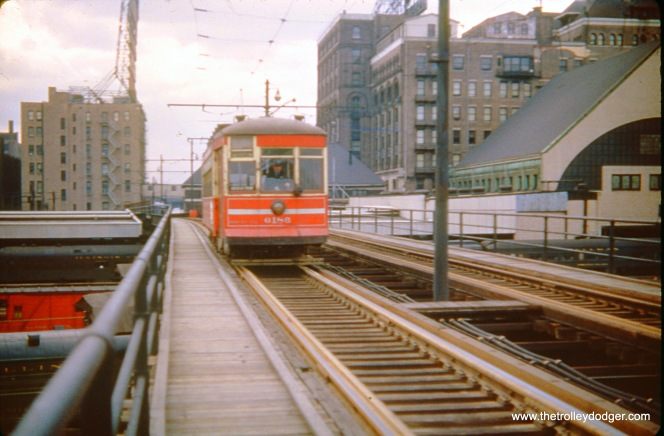 CTA 6186 heads east over the Illinois Central right-of-way in the early 1950s, heading towards the Field Museum and Soldier Field. This extension of the Roosevelt Road streetcar line was built for A Century of Progress, the 1933-34 Chicago World's Fair.
