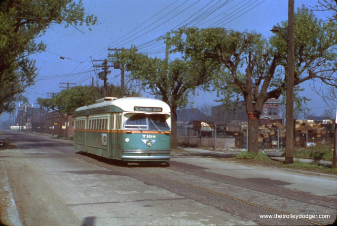 CTA 7108, already signed for its northbound trip on Route 36, is near 120th and Halsted in the 1950s.