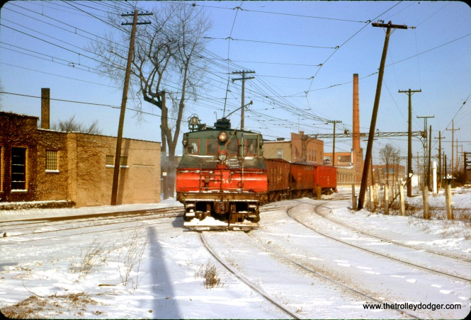North Shore Line electric loco 456 heads up a short freight train on January 20, 1963-- the last full day of operations prior to abandonment.