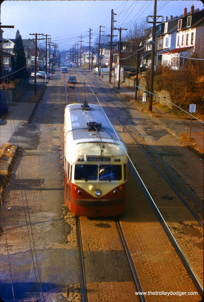 Red Arrow Lines Brilliner #7 is running on the street, presumably on the Sharon Hill branch, on November 27, 1960.
