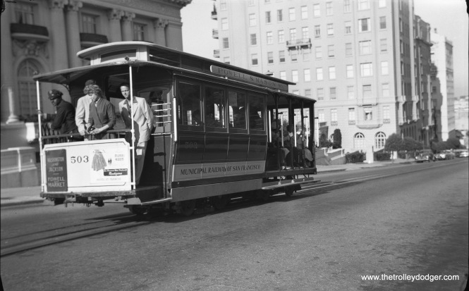 SF Muni cable car 503 at Washington and Octavia on September 1, 1956.