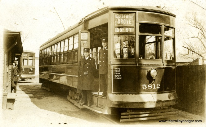 "I believe this photo postcard of Chicago Surface Lines 5812 was taken at the 72nd and Cottage Grove loop. Don's Rail Photos says, ""5712 was built by Brill Car Co in 1912, #18322. It was rebuilt as one man/two man service in 1933 and retired on August 25, 1947."" This picture appears to date between 1914 and 1933."