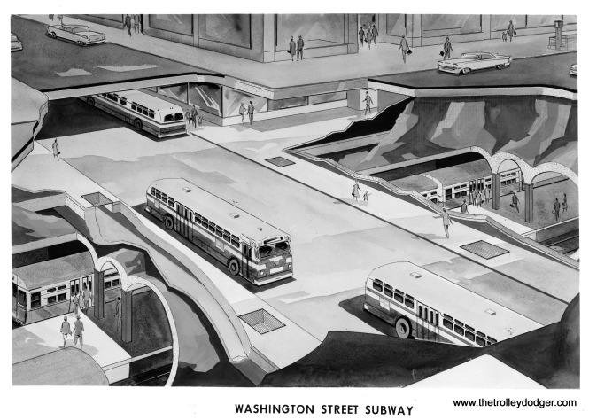 An artist's rendering of the high-level us subway the CTA envisioned for Washington Street between Canal and Michigan, 1961.