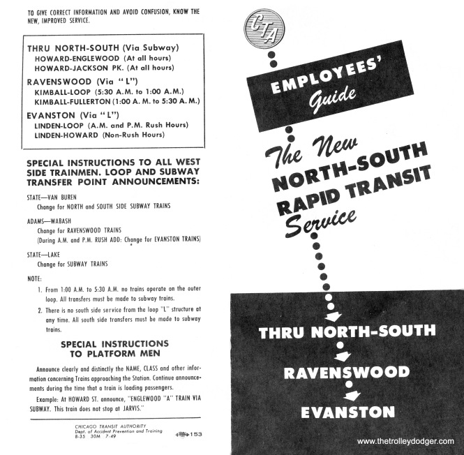 This CTA brochure, dated July 1949, explains the changes that were coming from the CTA's plan to revise north-south
