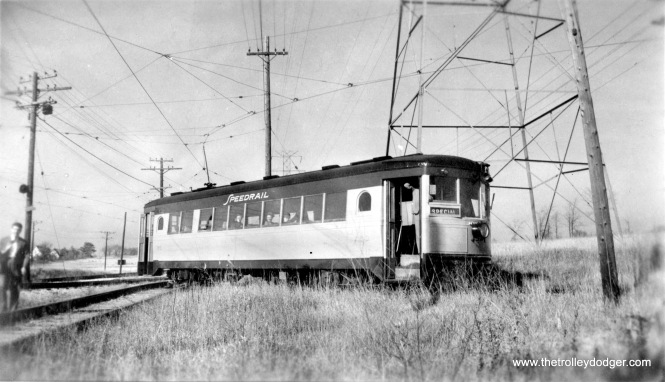 The Milwaukee Rapid Transit & Speedrail Company's car 60, seen here in 1950, was a Cincinnati curved-side car. The ill-fated attempt to keep electric transit service going in Milwaukee was doomed to failure, once a horrific head-on collision took the lives of several people.