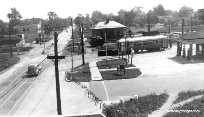 From a high vantage point, here we see C&WT 112 has just turned from Ridgeland onto Stanley in suburban Berwyn, and is heading west, just north of the CB&Q, which it will cross at Harlem Avenue one mile west of here. (William Shapotkin Collection)