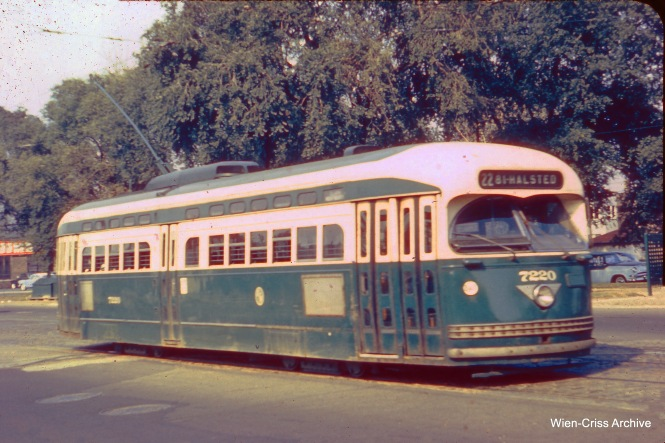 CTA postwar PCC 7220, a product of the St. Louis Car Company, on Route 22. (Wien-Criss Archive)