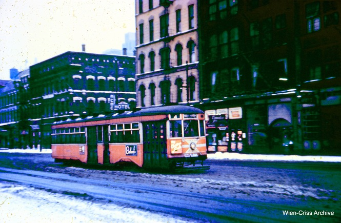 CTA Sedan (aka Peter Witt) 3360 is running Route 4 - Cottage Grove, circa 1951-52. (Wien-Criss Archive)