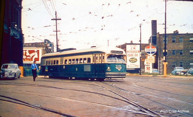 On September 6, 1957, Charles H. Thorpe took this picture of CTA 7139, the last pull-out from Devon Station (car barn). (Wien-Criss Archive)