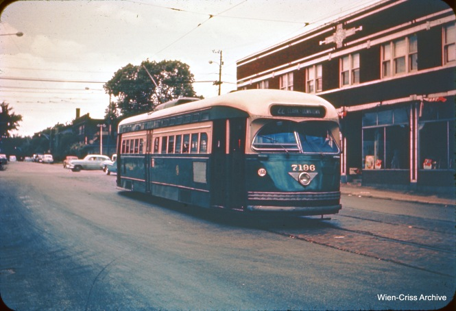 CTA postwar PCC 7196 is at 81st and Halsted, the southern end of Route 22 - Clark-Wentworth. (Wien-Criss Archive)