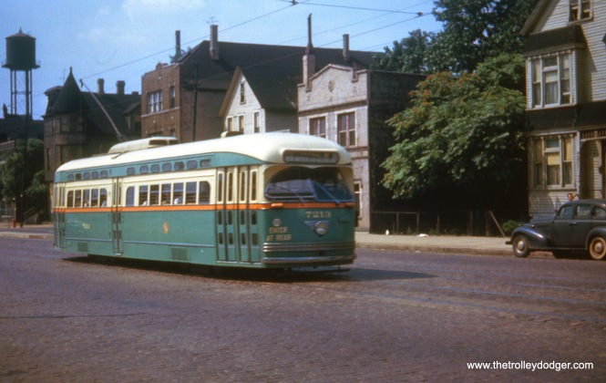 CTA 7213 on Route 49 - Western on August 2, 1949. This car would later become the last Chicago streetcar to operate.