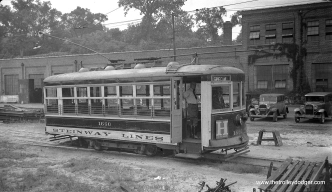 "Steinway Lines Birney car 1660 in September 1937, signed for the H line in Pelham Manor, NY. According to a knowledgable historian: ""There's a rather long story behind this. Yes, it's a Steinway car, and yes, it's on the TARS line in Westchester County. (The specific line was the route from New Rochelle to Pelham Manor.) Fontaine Fox, a Pelham native and creator of the ""Toonerville Trolley"" cartoons, said that he used this line as his original inspiration for the cartoon. So when the line was discontinued in 1937, the locals put on a big celebration at which Fox held forth as honored guest. For the occasion, TARS imported the Birney from Queens as the closest thing to the Toonerville Trolley. (Normal service was TARS convertibles or 700s.) The photo shows the car some time before or after the ceremony."""