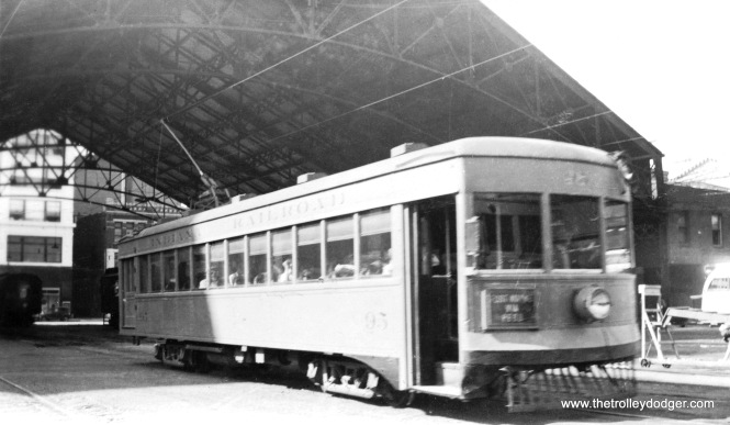 Indiana Railroad lightweight car #95 at the Indianapolis terminal.