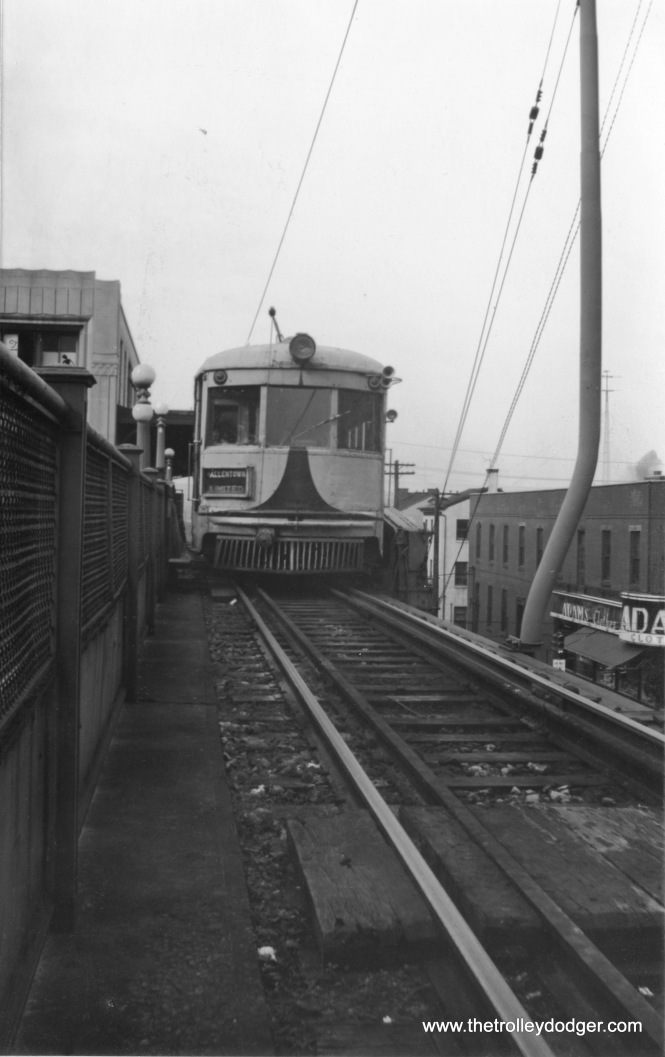 A Lehigh Valley Transit Allentown Limited on the Liberty Bell Route, descending the ramp at Norristown (where LVT shared tracks with the Philadelphia & Western for access to Philadelphia, at least until 1949).