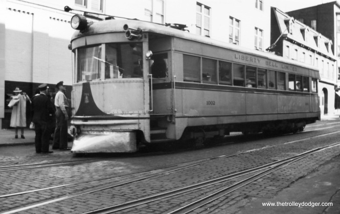 Lehigh Valley Transit lightweight high-speed car 1002, presumably in Allentown PA.