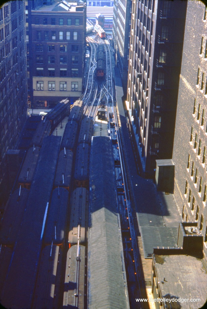 A bird's-eye view of the Wells Street Terminal used by the Chicago, Aurora and Elgin interurban on September 19, 1953. The following day, CA&E stopped running trains downtown, and their track connection with the CTA was severed forever in suburban Forest Park. There is a similar image, taken in 1960, showing the same terminal, or what was left after the CTA built a new track connection to the Loop elevated through it in 1955. You can find that in my book Building Chicago's Subways.