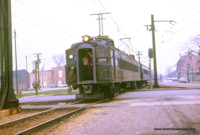 This picture was taken on a Central Electric Railfans' Association fantrip on the Illinois Central Electric on April 24, 1966. (William Shapotkin Collection)