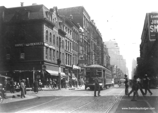 CSL 173X (full number not visible) is heading west on Madison Street in the 1930s. The Civic Opera House, built by Samuel Insull in 1929, is visible at rear. (Edward Frank, Jr. Photo)