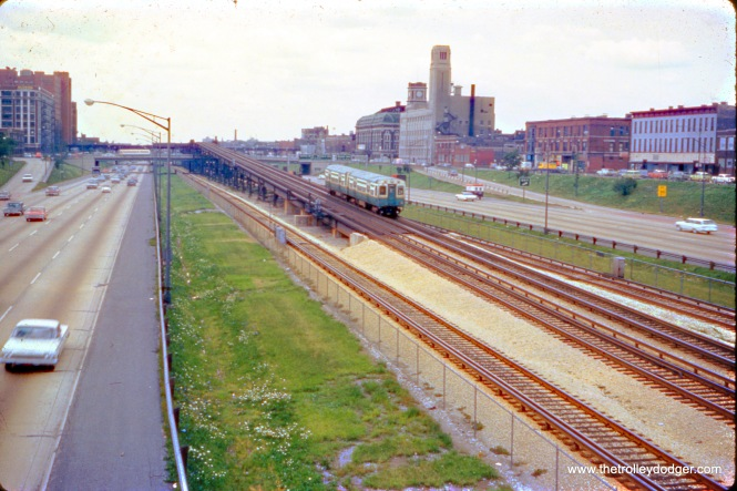 An outbound CTA Douglas Park train ascends the ramp that will take from the Congress (now Eisenhower) Expressway to the old