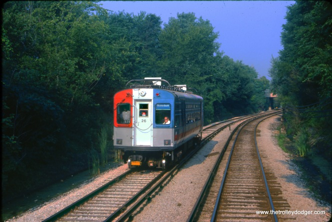 CTA single car unit 26 on the open-cut section of the Skokie Swift in August 1978.