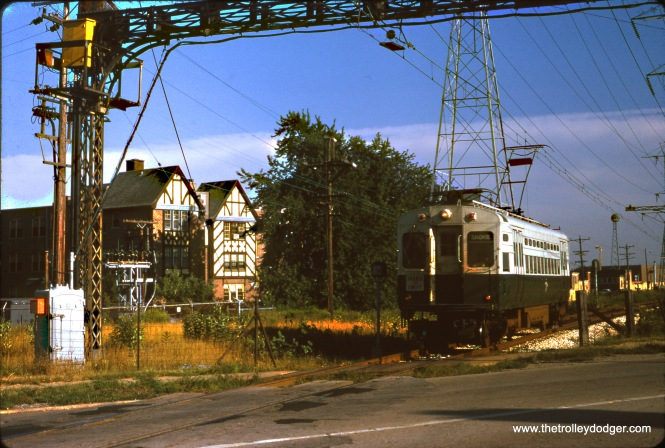CTA single cat unit 23 is outbound on the Skokie Swift at Niles Center Road on August 20, 1970.