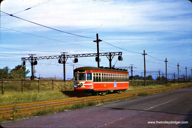 CTA Sedan (aka Peter Witt) 3848 on priate right-of-way at the south end of Route 4 - Cottage Grove in June 1952. Here, the line ran parallel to the Illinois Central Electric suburban service, now the Metra Electric.