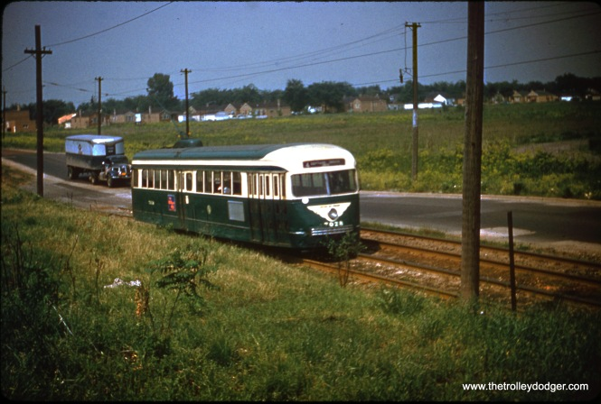 CTA prewar PCC 7028 on private right-of-way at the south end of Route 4 - Cottage Grove, in June 1953.