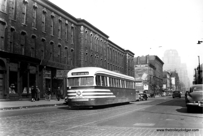 CSL prewar PCC 4022 heads west on Madison Street in the late 1940s. It is signed for the Madison-Fifth branch line. Fifth Avenue is an angle street that heads southwest. Service on the branch line terminated at the Garfield Park