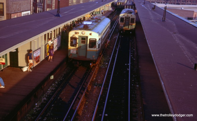 Two Swift trains at Howard, December 1968.