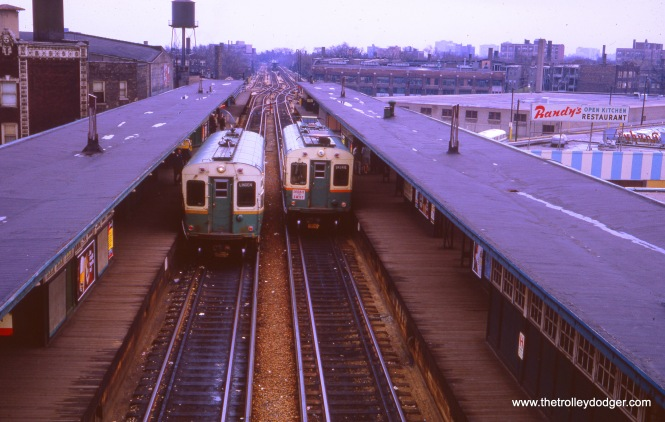 Same as the previous picture, this overhead shot from the transfer bridge, taken in October 1966, shows the difference in current collection on two of the CTA's 50 single car units.