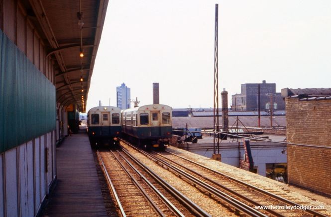 This picture was taken in April 1973 at one of the Howard line stations near the north end of the line. The two outer tracks are used for express trains, and the inner tracks for locals.