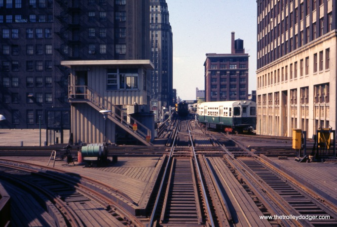 CTA's Tower 18 at Lake and Wells in July 1971, looking north.
