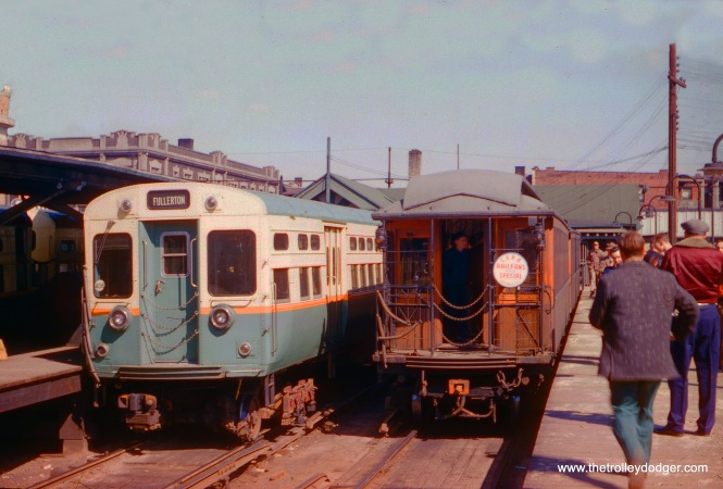 CTA gate car (either 280 or 390) at Kimball and Lawrence on a Central Electric Railfans' Associaiton fantrip in the 1950s. (Ken Rieger Photo)