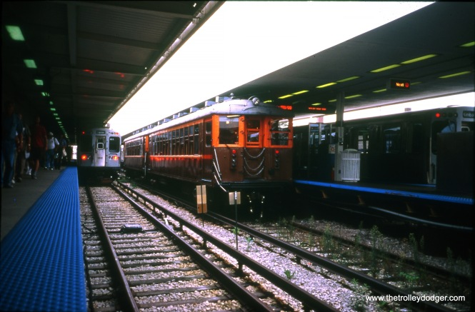 CTA 4271-4272 and 3441-3442 at Lawrence and Kimball. These cars were used on a Central Electric Railfans' Association fantrip in 2000. (John Allen Photo)