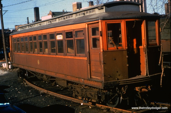 "CTA 2858 at Kimball on the Ravenswood line on April 14, 1957. I believe the occasion was a charter trip, held by the Illinois Electric Railway Museum. Don's Rail Photos: ""2858 was built by Pullman in 1906 as M-WSER 858. In 1913 it was renumbered 2858 and in 1923 it became CRT 2858."""
