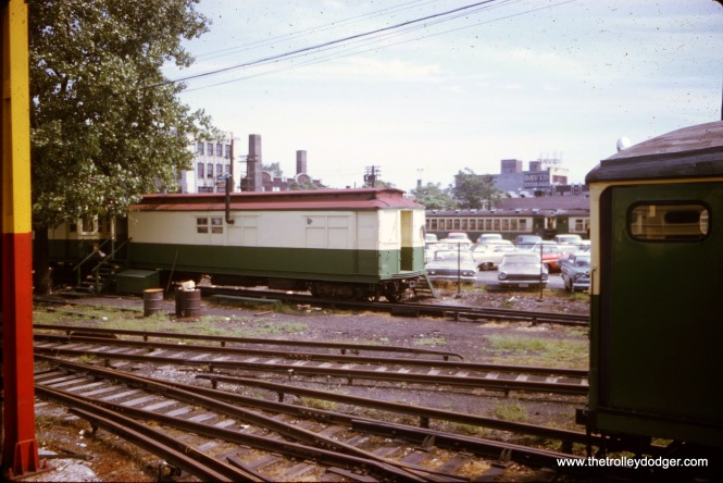"CTA ""Met"" cars at Kimball Yard, being used either as offices or for storage, in August 1967. (Compare with the picture of these same cars a few years later, showing how they had deteriorated somewhat after being stored outdoors.)"