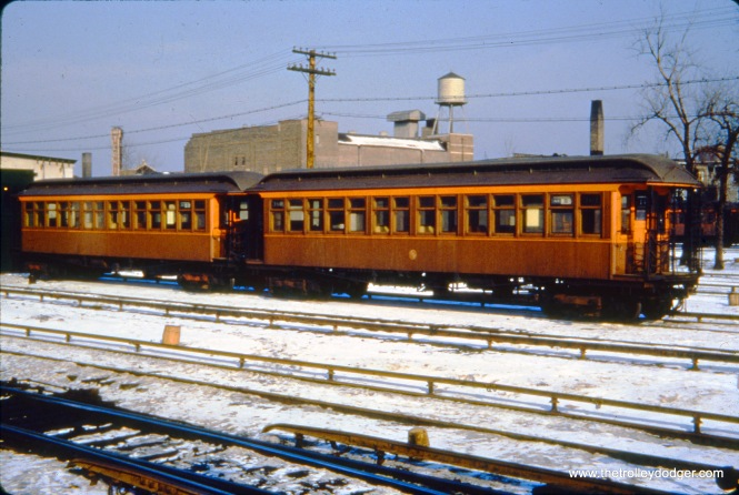 "CTA wooden ""L"" cars 361 and 257 in the Kimball Yard on February 4, 1951."