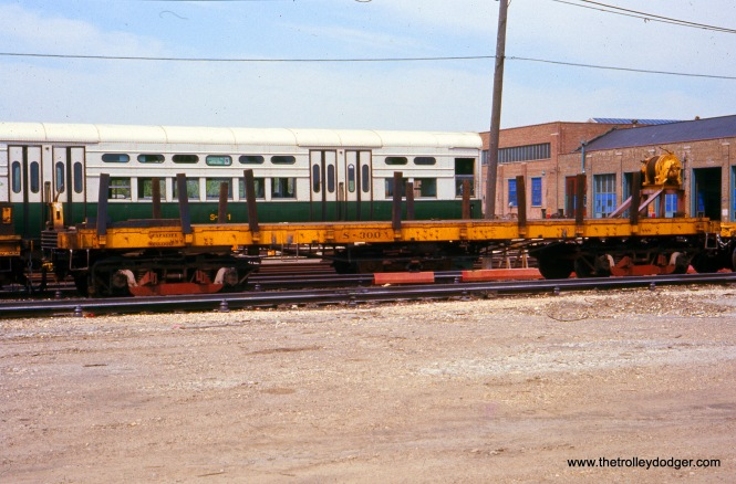 CTA Flatcar S-300 at Skokie Shops on May 21, 1977.