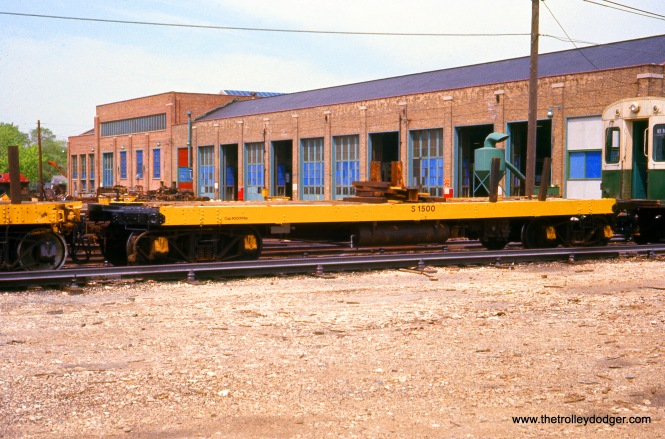 CTA Flatcar S-1500 at Skokie Shops on May 21, 1977.