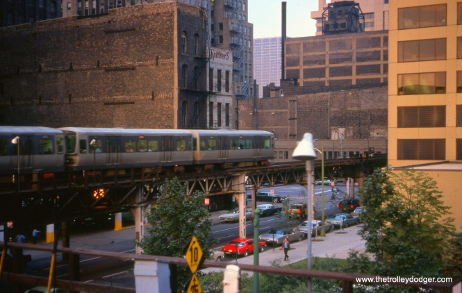 "A train of CTA 2000s (on the Lake-Dan Ryan line) are on the Loop ""L"" on September 13, 1976."