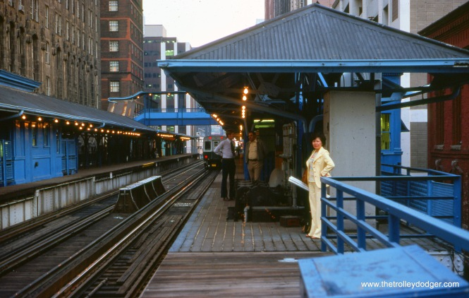 The CTA Randolph and Wells station on September 13, 1976. This station has since been replaced by Washington and Wells.