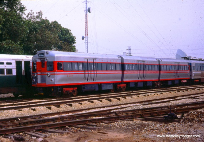CTA articulated train at Skokie Shops in August 1986. Here, it has been repainted to its original Chicago Rapid Transit Company livery. Don's Rail Photos: '5001 was built by Pullman-Standard in 1947, #6747. It was renumbered 51 in 1963 and acquired by Fox River Trolley Museum in 1986. It was restored as 5001.""