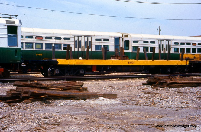 CTA Flatcar S-1501 at Skokie Shops on May 21, 1977.